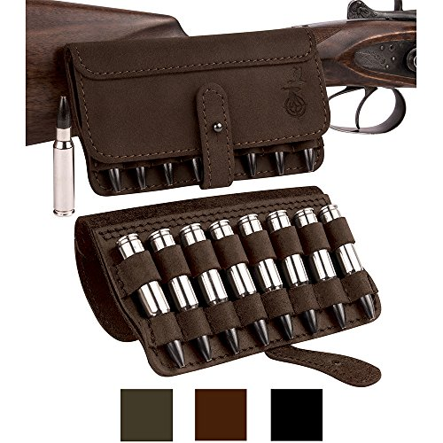 BronzeDog Leather Cartridge Case Shell Holder for 300 308 Win Mag Belt Ammo Pouch Black Brown Khaki Hunting Accessories (Brown)