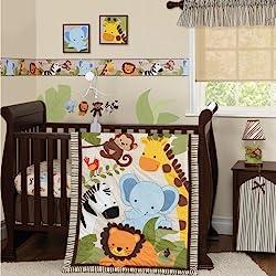 Bedtime Originals Jungle Buddies Bumper, Brown/Yellow