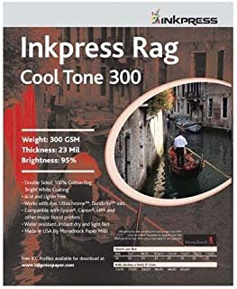 Inkpress Rag, Cool Tone Double Sided, Bright White Matte Inkjet Paper, 24 mil., 300gsm, 13x19, 25 Sheets by Inkpress