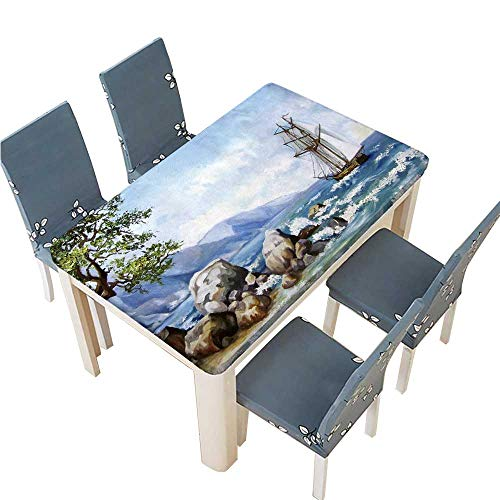 - PINAFORE Jacquard Polyester Fabric Tablecloth Oil Painting sea Views Wallpaper with Ship and sea Suitable for Home use W49 x L88.5 INCH (Elastic Edge)