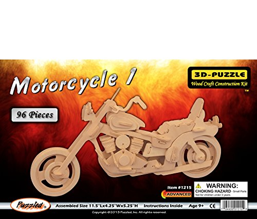 Puzzled Motorcycle 1 3D Puzzle 96 Pieces Interlocking High Grade 3mm Plywood Easy to Build Motorbike w/ Instructions Inside Assembly Size: 11.5