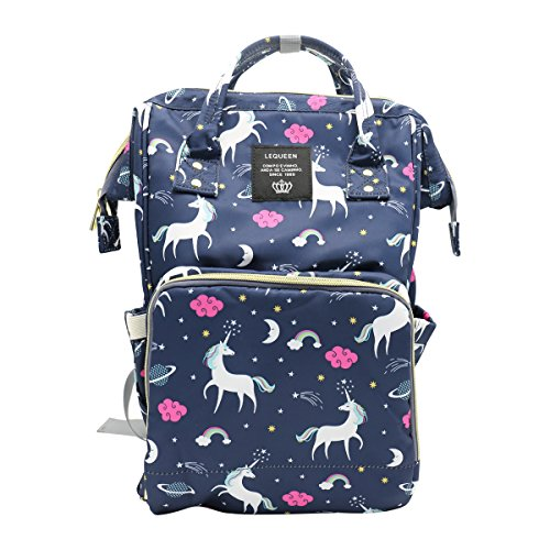 Genuva Diaper Bag Multi-Function Baby Diaper Backpack Nappy Bags, Mom Dad Travel Backpack Large Capacity Baby Bags with Unicorn Printing (Blue)