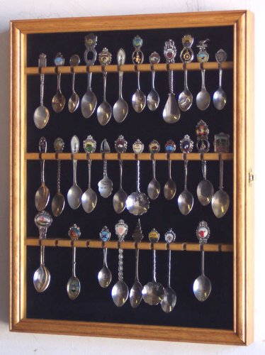 36 Spoon Display Case Cabinet Holder Rack Wall Mounted -Oak Finish