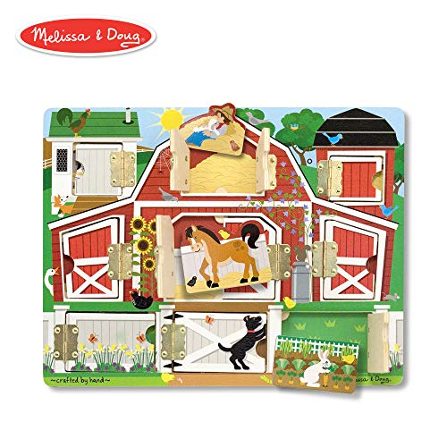 Melissa & Doug Hide & Seek Farm (Developmental Toys, Magnetic Puzzle Board, Sturdy Wooden Construction, 9 Pieces, 12