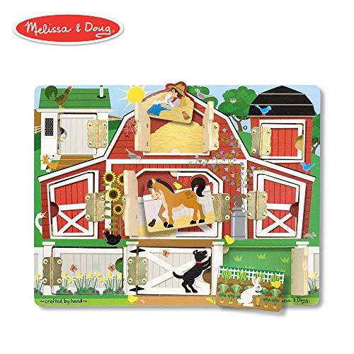 "(Melissa & Doug Hide & Seek Farm (Developmental Toys, Magnetic Puzzle Board, Sturdy Wooden Construction, 9 Pieces, 12"" H x 9.4"" W x 0.9"" L))"