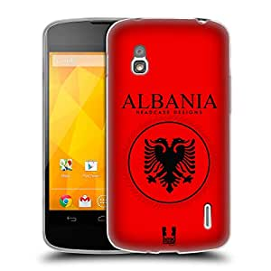 Head Case Designs Albanian Flag Patches Soft Gel Back Case Cover for LG Nexus 4 E960