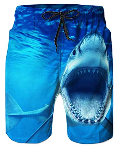 Men Swim Trunks 3D Print Blue Shark Animal Fun Cool Beach Board Shorts High Waist with Mesh Lining Big Pocket for Young Boy Men's Hawaii Holiday Casual Sportswear for Running Surf Jogging Lounge Pants