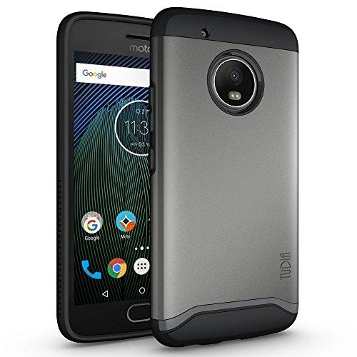 TUDIA Moto G5 Plus Case, Slim-Fit HEAVY DUTY [MERGE] EXTREME Protection / Rugged but Slim Dual Layer Case for Motorola Moto G5 Plus (Metallic Slate) (Protector Rubberized Case Shield)