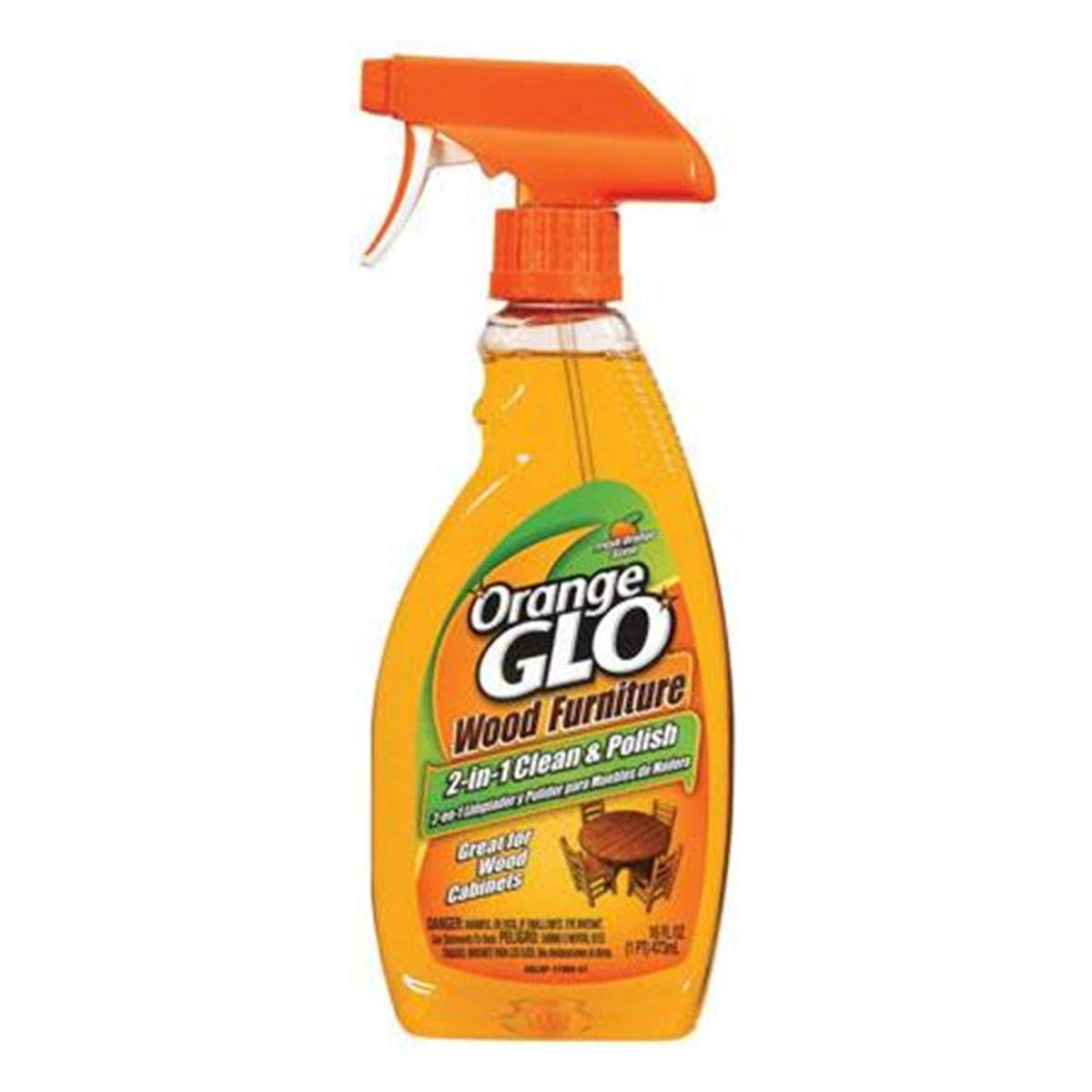 2 x Orange Glo Wood Furniture 2 in 1 cleaner and polish spray Bottles 473ml+ Free a Ultra Plush Microfiber Towel Churchdwight