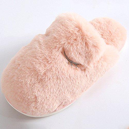 Eastlion Frauen und Frauen Innen Winter Warm Anti Rutsch Fleece Pelz Hausschuhe Haus Hausschuhe Rosa