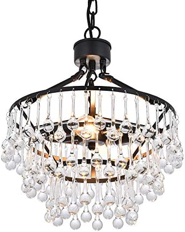 COTULIN Modern Crystal Chandeliers,Black Pendant Light for Living Room Bedroom Dining Room,Hanging Pendant Lighting Fixture Perfect for Kitchen Decor