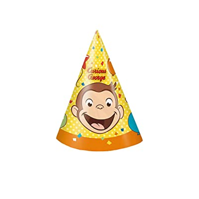 Unique Curious George Party Hats, 8 Ct.: Toys & Games