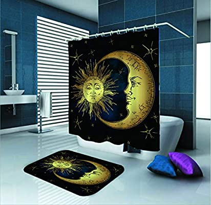 Amazon Com Sara Nell Golden Sun Moon Star Shower Curtain Waterproof