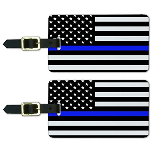 Thin Blue Line American Flag Luggage ID Tags Suitcase Carry-On Cards - Set of 2 ()