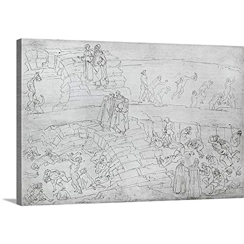 GREATBIGCANVAS Gallery-Wrapped Canvas Entitled Dante and Virgil (70-19 BC) from The Divine Comedy by Dante Alighieri (1265-1321) by Sandro Botticelli 60
