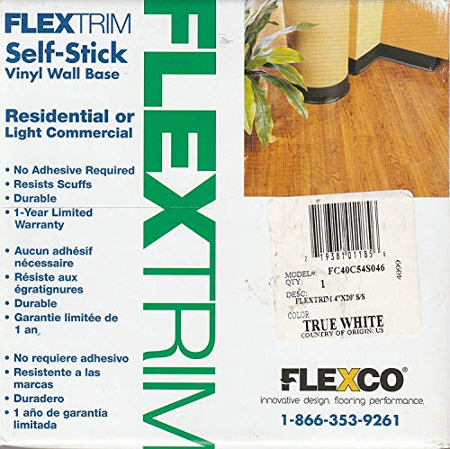 FlexTrim Self-Stick Vinyl Wall Base, 4″ x20′ True White