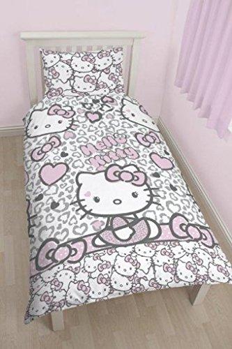 Copripiumino Hello Kitty.Hello Kitty Copripiumino Singolo Reversibile Stampa Leopardata