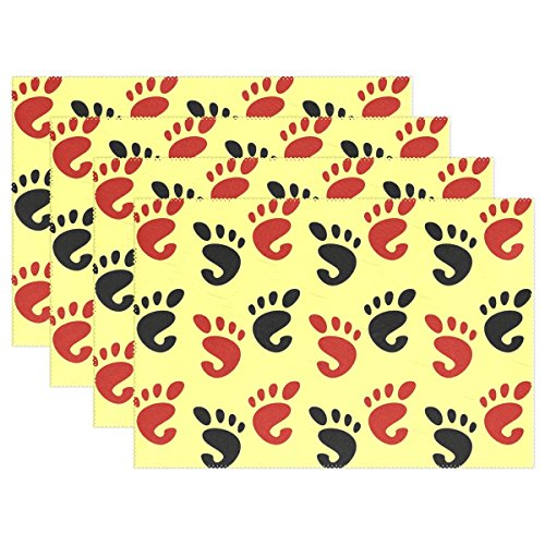 WIEDLKL Feet Foot Prints Human Body Organs Fingers Marks Placemats Set Of 4 Heat Insulation Stain Resistant For Dining Table Durable Non-slip Kitchen Table Place Mats