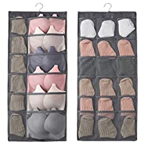 Bchway Closet Hanging Organizer with Pockets, Dual Sided15-pocket Wall Shelf Wardrobe Organizers Storage Bags Space Saver Bag Oxford Cloth with Hanger for Bra Underwear Tshirts Underpants Shoes Socks