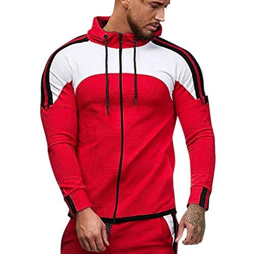 Beautyfine Sweatshirts Men's Hoodie Zipper Long Sleeve Patchwork Hooded Top Tee Outwear Blouse Pullover Red from Beautyfine Sweatshirts