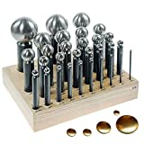 PEPETOOLS 30 Pcs PUNCH DAPPING SET STEEL METAL DOMING W/WOOD STAND