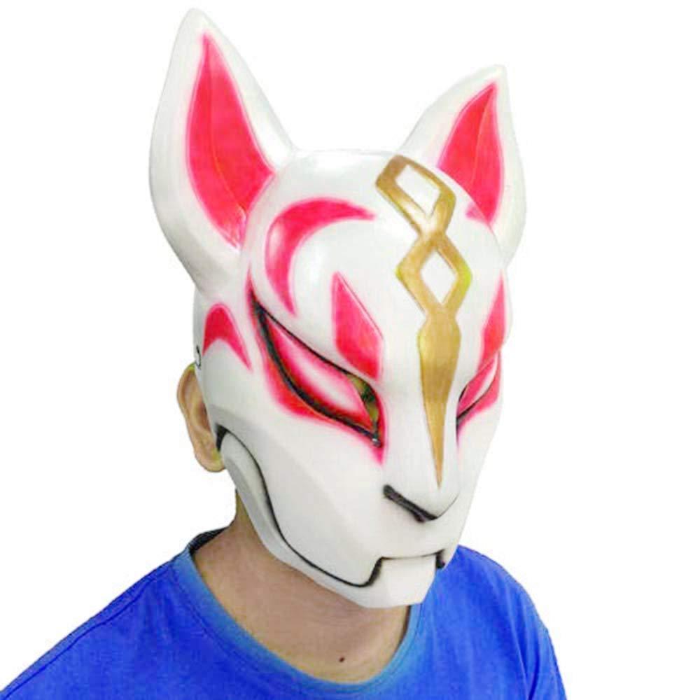 Ginkago Fortnite Latex Fox Drift Mask Helmet Halloween Costumes for Adult Kids
