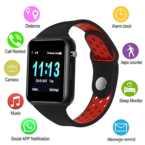 IOQSOF Smart Watches,IOQSOF Touchscreen Bluetooth Smart Watch with Camera,Android Smartwatch,Waterproof Smart Watches Compatible Samsung iOS iPhone X 8 7 6 6S Plus 5 Men Women