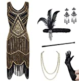 Coucoland Womens 1920s Flapper Sequin Beads Dress with Roaring 20s Gatsby Accessories Set