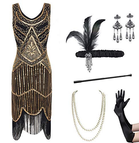 (Coucoland Womens 1920s Flapper Sequin Beads Dress with Roaring 20s Gatsby Accessories Set for Party (Gold & Black,)