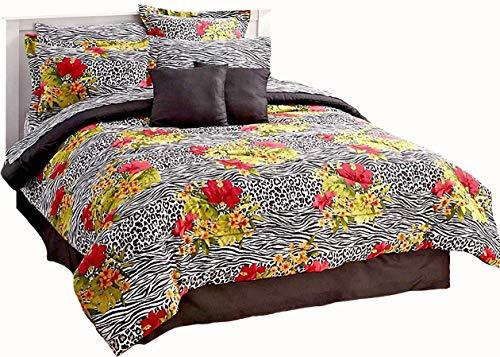 20pc King Size Exotic Safari Animal Print/Tropical Hibiscus Floral Bedroom Ensemble (8pc Comforter(101