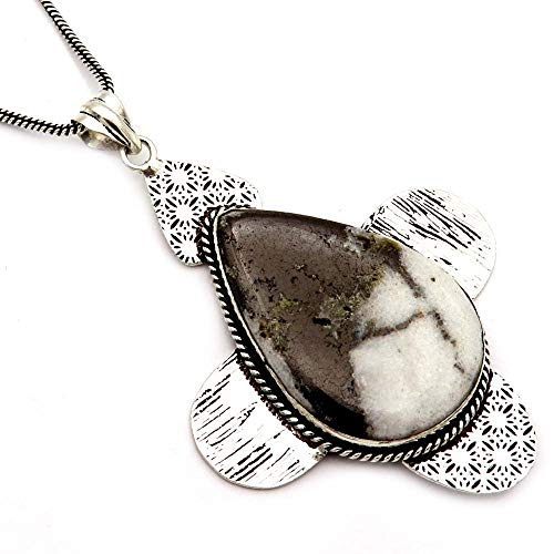 GoyalCrafts Natural Black Zebra Jasper Silver Plated Pendant Handmade Jewelry &Chain GPM19