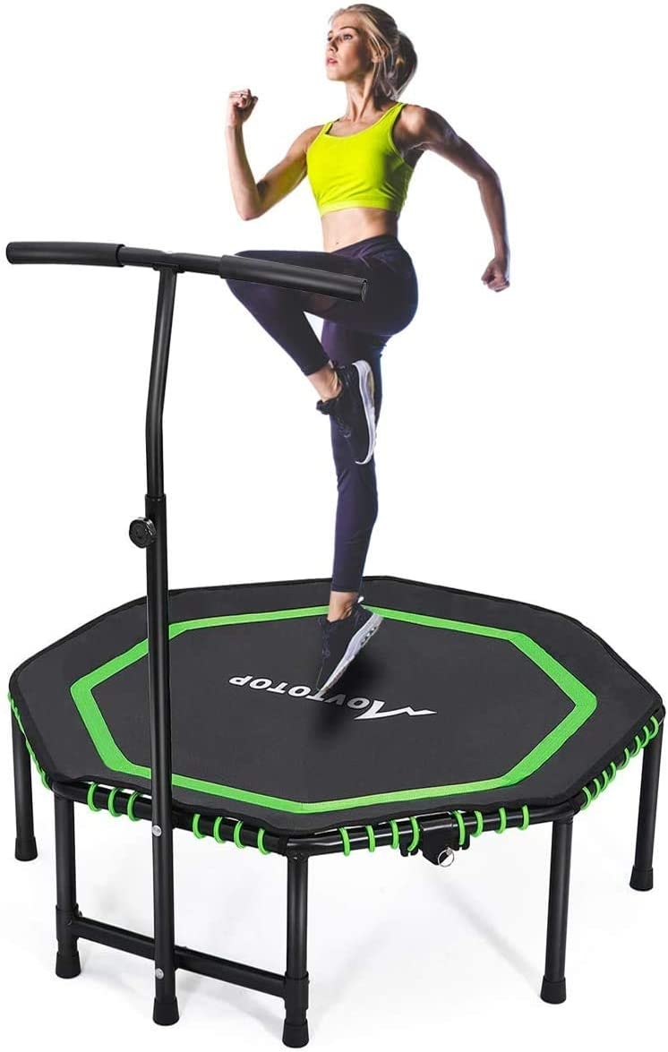 Indoor Fitness//Home Workout Cardio Training for Adults CASTOOL 48Ultra Quiet Fitness Mini Octagon Foldable Trampoline with Adjustable Handle,Safe Elastic Band