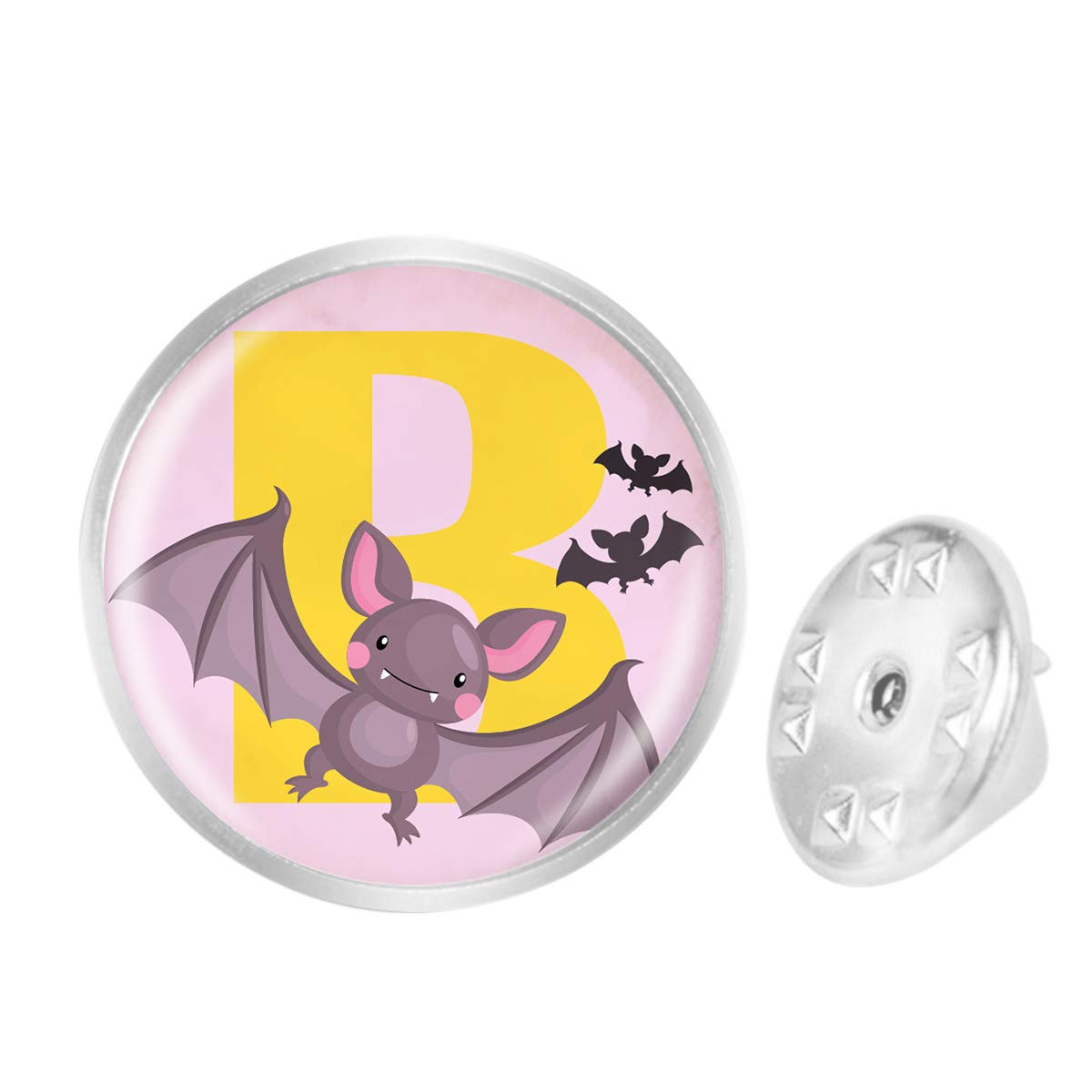WAZZIT Round Metal Tie Tack Hat Lapel Pin Brooches Letter V Bat Banquet Badge Enamel Pins Trendy Accessory Jacket T-Shirt