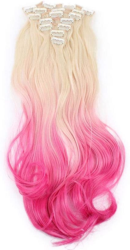 Conjunto de siete piezas de pieza de cabello bicolor pieza de ...