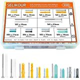SELIKOUR 300Pcs Drywall Anchors and Screws, Plastic Self Drilling Drywall Ribbed Anchors Assortment Kit for Drywall, Hollow-Wall Hanging Wall Shelf or Blinds