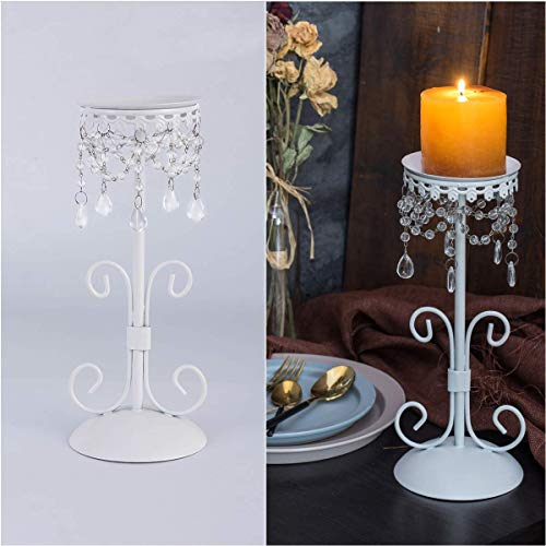 Crystal Candle Holders Europe Style Romantic Chic Elegant Hand Crafted with Crystal Bead Metal Candle Stand for Decorative Living Room Dining Room Table Wedding Birthday, White