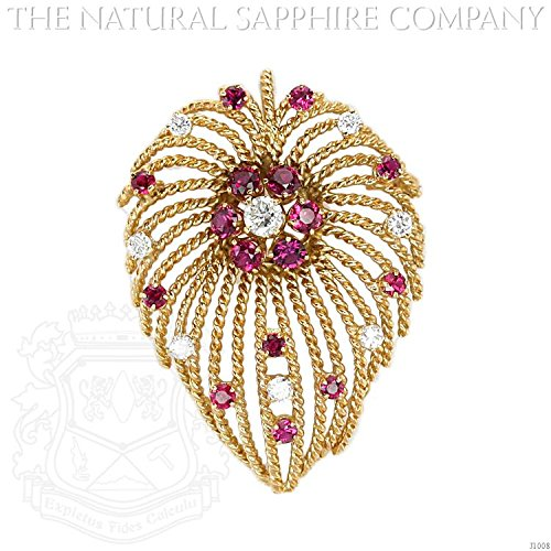 2.44ct. Natural Ruby Sapphire Brooch With 8 Dia 1.05ct. total (J1008) - Diamond Ruby Sapphire Brooch