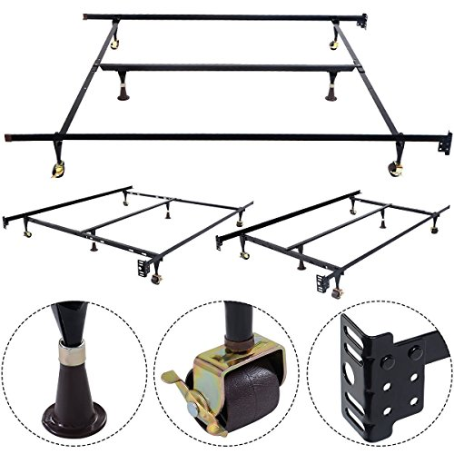 Apontus Metal Bed Frame Adjustable Queen Full Twin Size W/Center Support by Apontus
