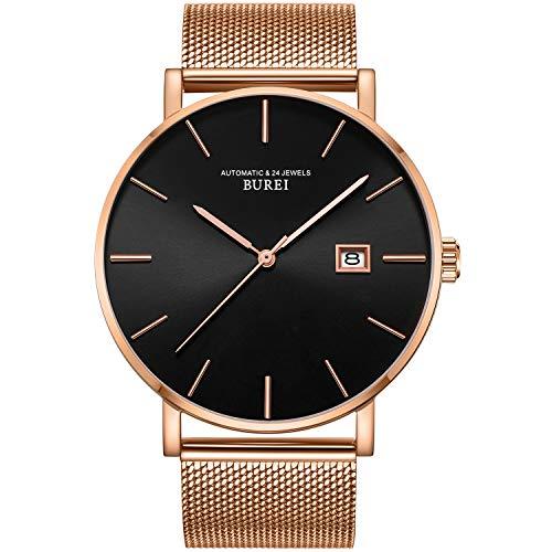 Burei Men's Automatic Watch Minimalist Fashion Luxury Sapphire Lens Simulated Date (Black/Rose Gold)