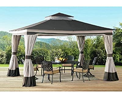 Patio Gazebo, Metal Gazebo, Pergolas And Gazebos,12 Ft. W x 10 Ft. D Portable,With Mosquito Netting And Privacy Curtains-Enjoy Your Personal Shaded Oasis