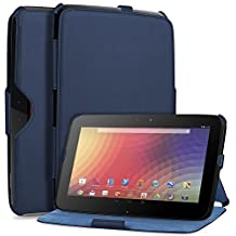 GreatShield VANTAGE Series Ultra Slim Fit Leather Folio Case with Multi Angle Stand + Sleep / Wake Function for Google Nexus 10 inch Android Tablet (Ink Blue)