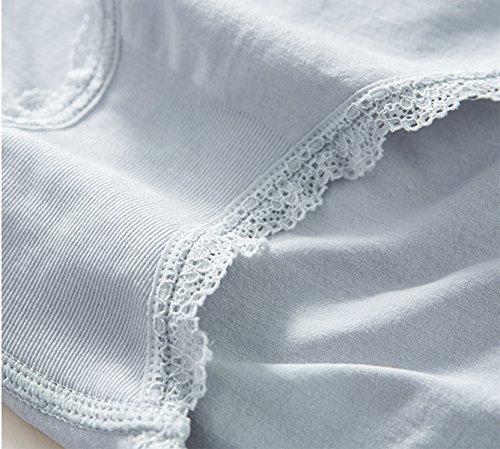 Ropa Interior Femenina Cintura Baja Escritos Tela Cómoda Color Puro Entrepierna De Algodón Blue