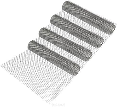[pro.tec] 4 rollos de malla de alambre (cuadrados)(1m x 25m)(galvanizado) valla de tela metálica gris