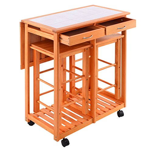 Kitchen Island Trolley Cart Rolling Drop Leaf Table with 2 Stools for Home Breakfast (Chairs Breakfast Island)
