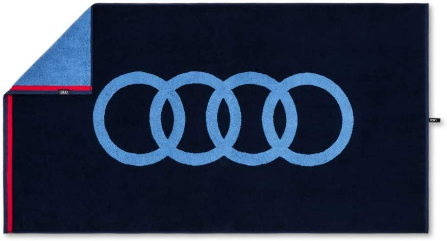 Audi 3132100400 Hand Towel 80 x 150 cm Blue with Rings Logo