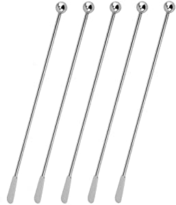 Coffee Beverage Stirrers Stir - Stainless Steel Cocktail Drink Swizzle Stick with Small Rectangular Paddles (5 Pack)