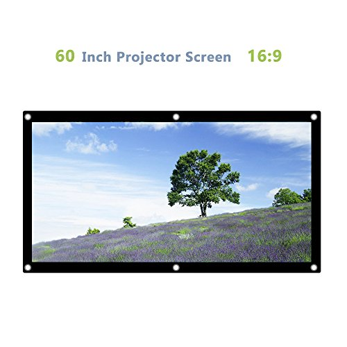 16:9 Portable Projector Screen Canvas Curtain Movies Screen for Home Theater Outdoor Indoor (1.1 Gain) (60 inch) by Greensen