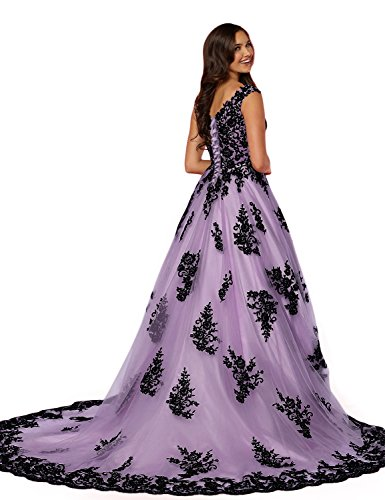 2018 Quinceanera Dresses for Girls Formal Ball Gown V Neck Manual Lace Appliqued Empire Waist Regular Straps Mermaid Prom Dress for Women Long Party Gowns Light Purple Size 12