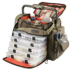 Wild River By Clc Custom Leathercraft Wt3702 Tackle Tek Frontier Lighted Handle Bar Tackle Bag, Fishing Bag With Five Pt3700 Trays