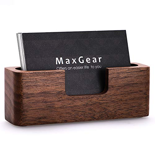 MaxGear Business Card Holder Wood Business Cards Holder for Desk Business Card Display Holder Desktop Business Card Stand for Office,Tabletop - Rectangle